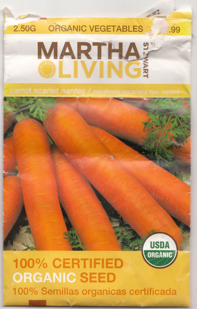 'Scarlet' carrot seed pack.